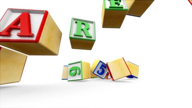 vídeos y material grabado en eventos de stock de bloques de construcción escribir sus padres - ortografía