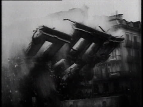 building collapsing after an air attack / poland - 1944 stock videos & royalty-free footage