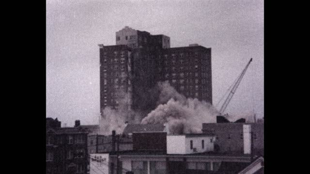 building collapsing during demolition, atlantic city, new jersey, usa, 1980 - demolishing stock videos & royalty-free footage