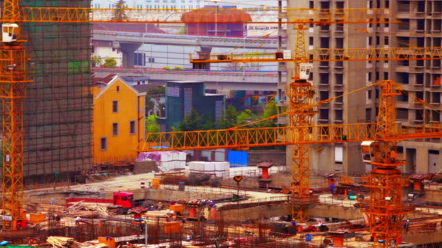 building construction - crane construction machinery stock videos & royalty-free footage