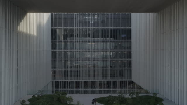 building exterior of 'amorepacific' (cosmetics company) headquarters / yongsan-gu, seoul, south korea - wall building feature stock videos & royalty-free footage