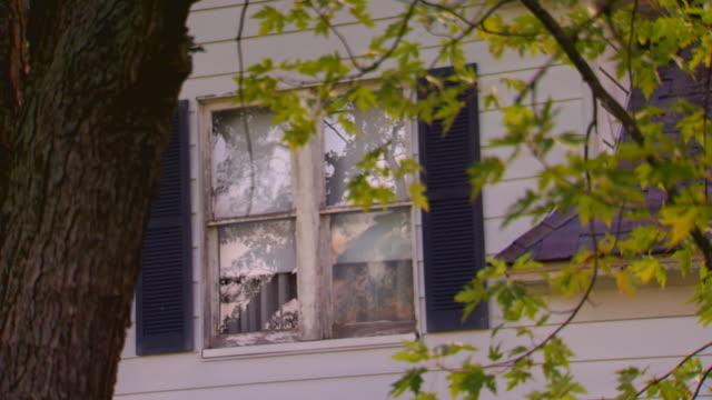 vidéos et rushes de building exterior of house, close up on window  through tree - jour