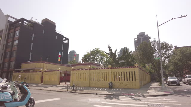 building exterior of the dorje ling buddhist center in vinegar hill at 98 gold street in brooklyn on august 13, 2021 in brooklyn, new york. - temple building stock videos & royalty-free footage