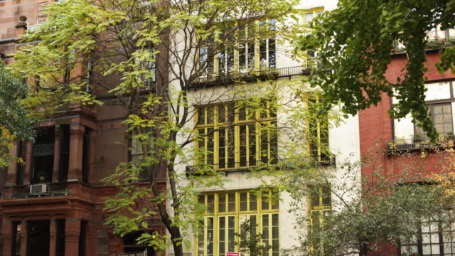 ms building exterior with trees in foreground, gramercy park / new york city, new york, usa - appartamento video stock e b–roll