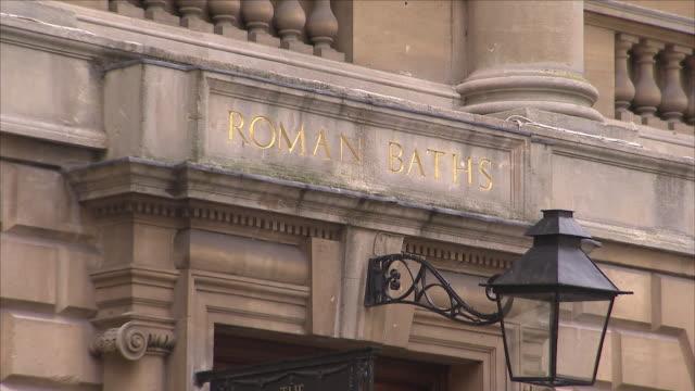 building facade of roman bath - bathhouse stock videos & royalty-free footage