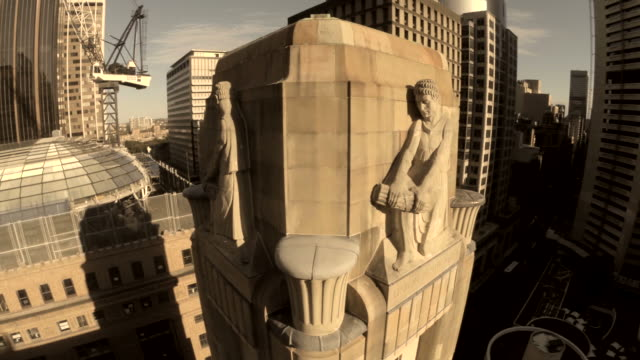 building fly over in martin place sydney - human settlement stock videos & royalty-free footage