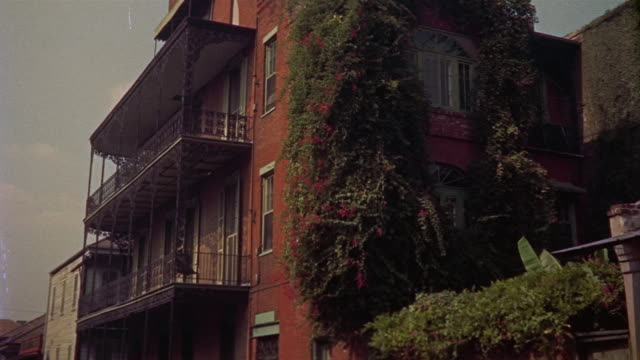 1959 montage building in french quarter, new orleans, louisiana, usa - louisiana stock videos & royalty-free footage