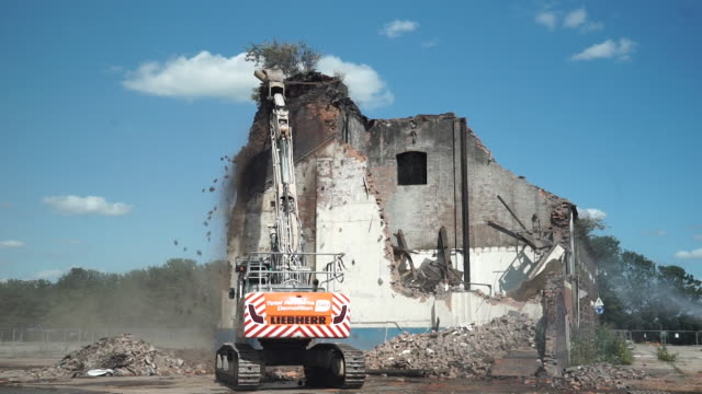 building knocked down on birmingham outskirts for hs2 high speed rail project - broken stock videos & royalty-free footage
