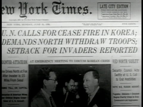 c building lake success new york cu newspaper 'un calls for cease fire in korea' int ws security council meeting cu headline 'un backs us' - korean war stock videos & royalty-free footage