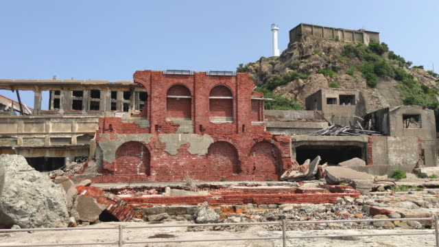 Building lies in ruins on Hashima Island on June 5 2019 near Nagasaki Japan Now a popular tourist destination Hashima Island commonly called...