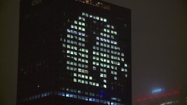 WGN Building Lit Up With Chicago Blackhawks Logo on the night the Blackhawks won the Stanley Cup on June 15 2015 in Chicago Illinois