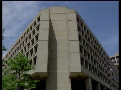 building lms entrance to fbi building tilt up lms exterior of building zoom in to sign senator patrick leahy interview sot - fbi knew they had solid... - timothy mcveigh stock videos & royalty-free footage