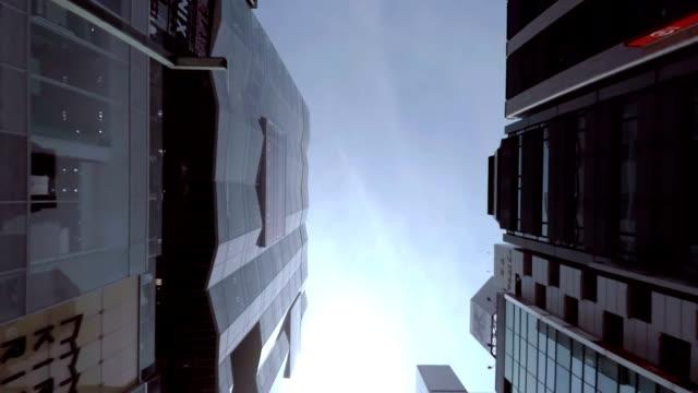 gebäude-look am himmel -ginza- - 4 k - fensterfront stock-videos und b-roll-filmmaterial
