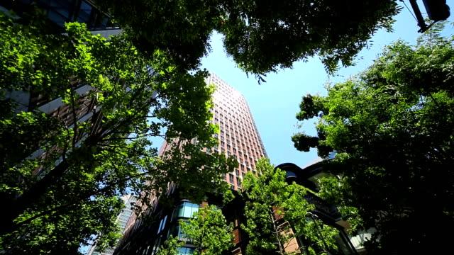 building - look up at the sky -marunouchi - marunouchi stock videos & royalty-free footage