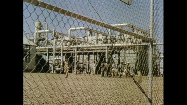 building of sui-gas natural gas purification plant , pakistan - 禁煙マーク点の映像素材/bロール