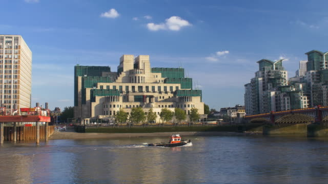 sis building or mi6 building at vauxhall cross. river thames foreground. - terry farrell stock videos and b-roll footage