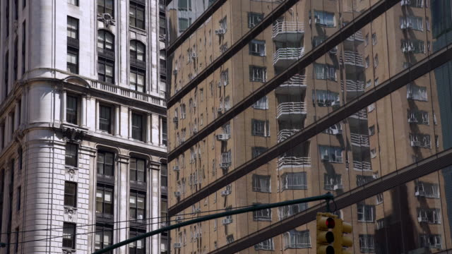 building reflections in new york city - road signal stock videos & royalty-free footage