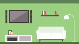 Building room interiors: kitchen, living room, bathroom, bedroom, office