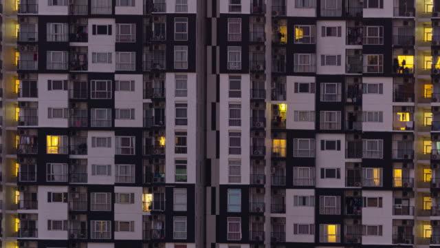 4k tl: building rooms condominium.(zoom out) - facciata video stock e b–roll