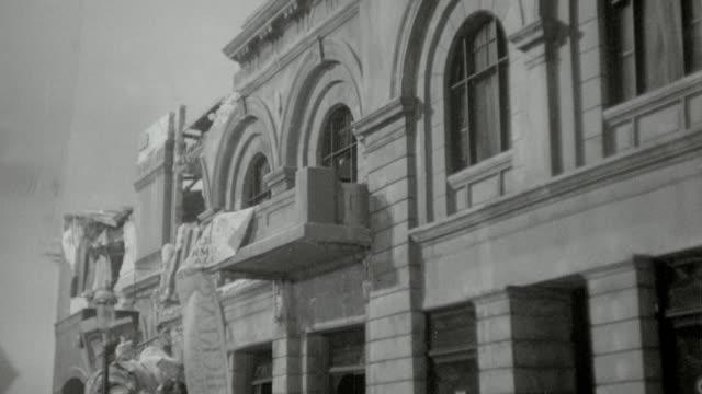 b/w reenactment building shaking in reenactment of san francisco earthquake / san francisco (1936) - earthquake stock videos & royalty-free footage