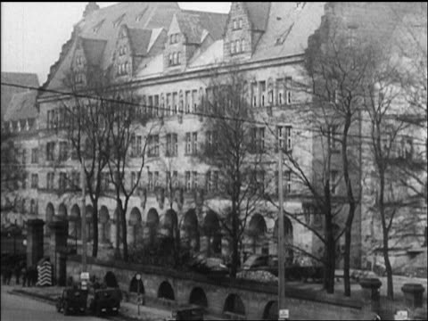 b/w 1946 building where war crimes trials are held / nuremberg germany / newsreel - legal system stock videos and b-roll footage