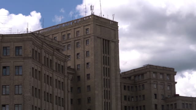 cu building with clouds - kharkov stock videos & royalty-free footage