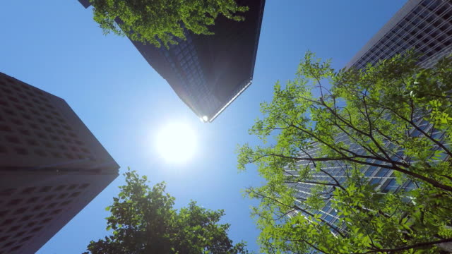 Building with green - look up at the sky -4K-
