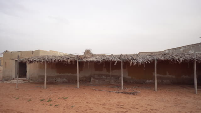 Building with hay roof, trucking shot