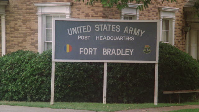 ms building with sign 'fort bradley  us army headquarters' - 1982 stock videos and b-roll footage