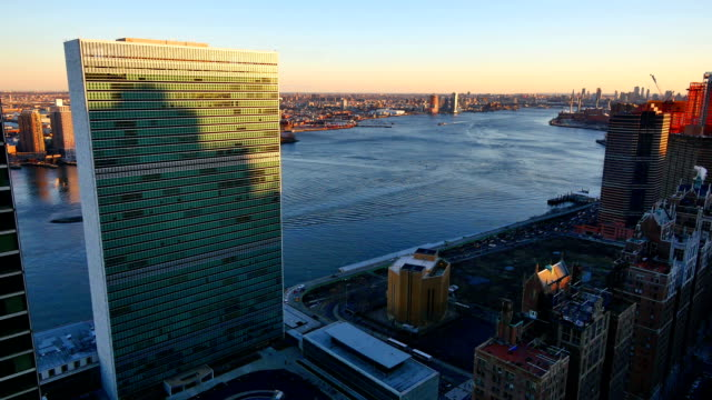 un building+east river+nyc - united nations building stock videos and b-roll footage