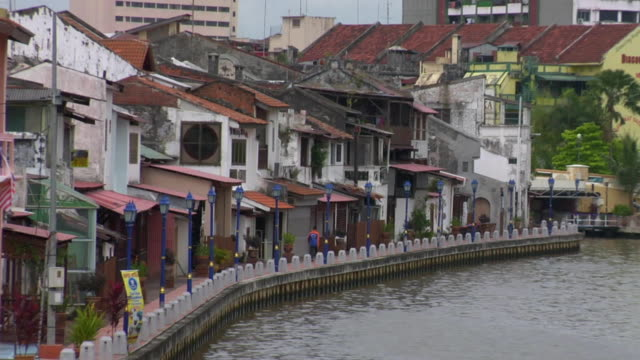 ws buildings along malacca river / malacca, malaysia - malacca stock videos and b-roll footage