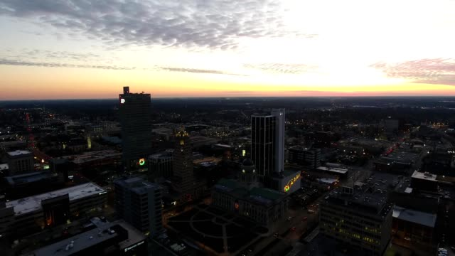 buildings and city lights at sunset - indiana stock videos & royalty-free footage