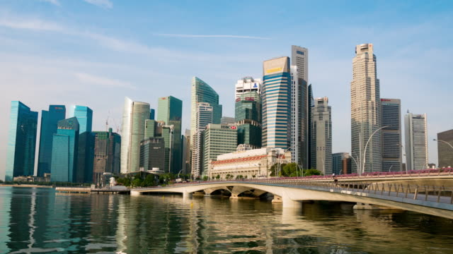 buildings and financial towers at marina bay, singapore - grove stock videos & royalty-free footage