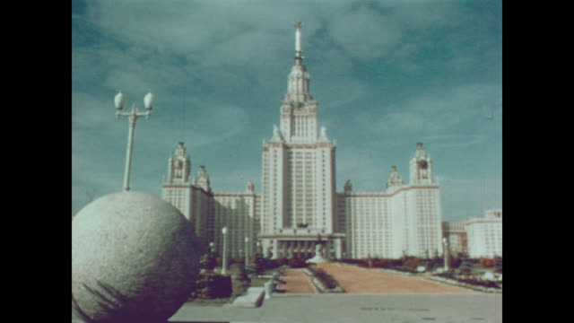 1959 buildings and grounds of the university of moscow - ehemalige sowjetunion stock-videos und b-roll-filmmaterial