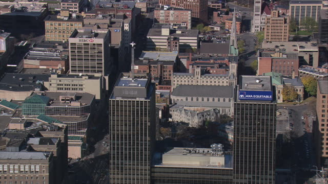 aerial buildings and skyscrapers in downtown / syracuse, new york, united states - syracuse stock videos & royalty-free footage