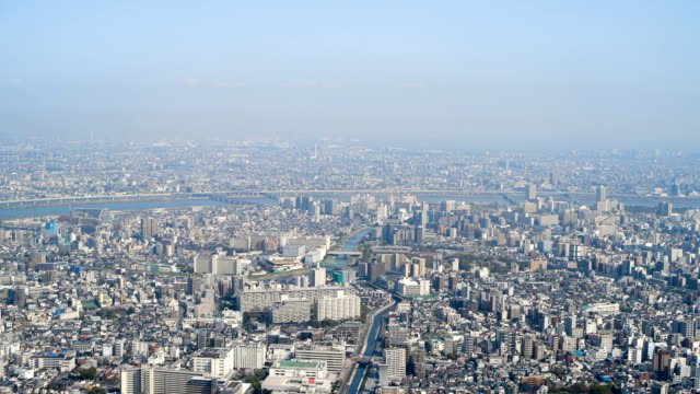 buildings are seen from the tokyo skytree on march 29, 2018 in tokyo, japan. the tower was opened to the public in may 2012 and is the tallest tower... - kanto region stock videos & royalty-free footage