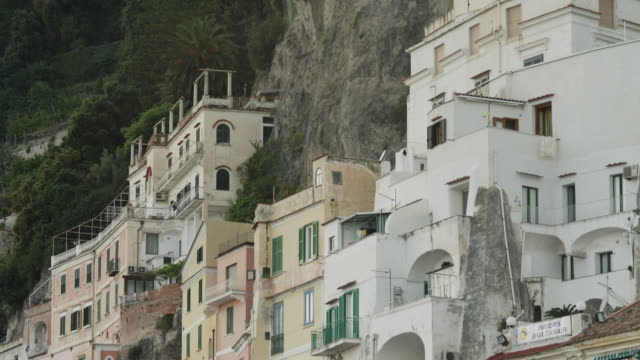 ws td buildings at amalfi beach / italy - amalfi stock videos and b-roll footage