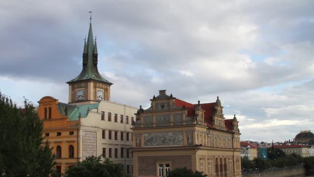 buildings by the vltava river in prague - river vltava stock videos & royalty-free footage