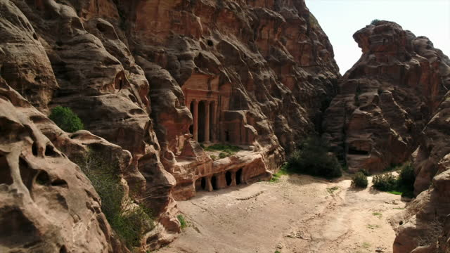 buildings carved into rock at petra, jordan - carving craft product stock videos & royalty-free footage