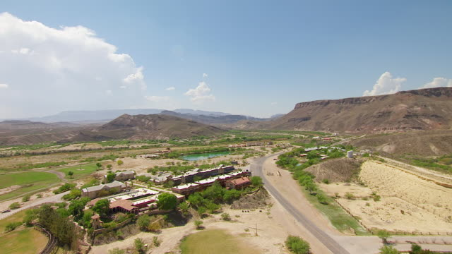 WS AERIAL DS ZI buildings in Big Bend Country in Chihuahuan Desert / Lajitas, Texas, United States
