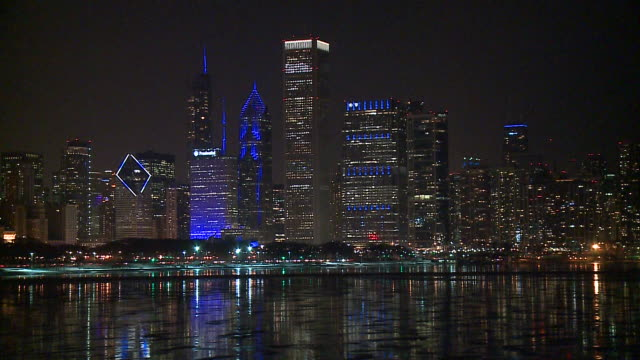 WGN Buildings in Chicago's skyline displayed blue lights in memory of fallen Chicago police Cmdr Paul Bauer on March 15 2018