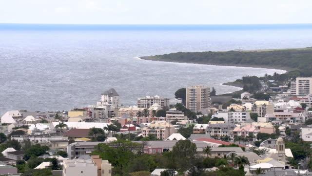 stockvideo's en b-roll-footage met ws buildings in city on seashore, reunion island - french overseas territory