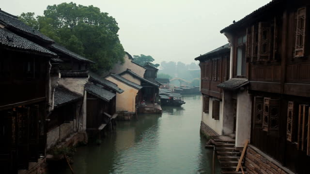 buildings in the ancient water town of wuzhen - zhejiang province stock videos & royalty-free footage