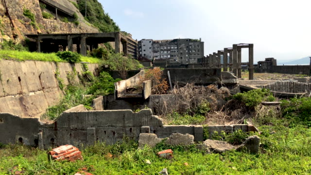 Buildings lie in ruins on Hashima Island on June 5 2019 near Nagasaki Japan Now a popular tourist destination Hashima Island commonly called...
