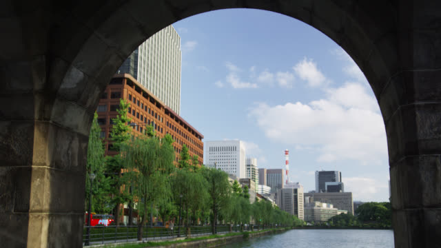 ws buildings of hibiya and the outer moat late afternoon / tokyo, tokyo-to, japan - moat stock videos & royalty-free footage