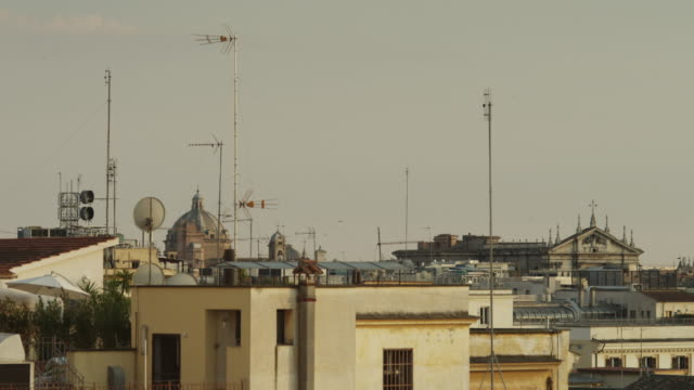 ws building's rooftops / rome - cable tv stock videos & royalty-free footage