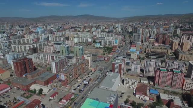 vídeos de stock e filmes b-roll de buildings stand in this aerial video above ulaanbaatar mongolia on saturday aug 8 2015 - ulan bator