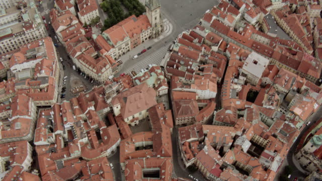 AERIAL Buildings with red roofs in an old European city