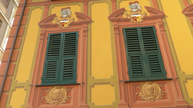 buildings with trompe l'oeil facade paintings in the italian riviera. - slow motion - oeil stock videos and b-roll footage