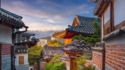 Bukchon Hanok Village Is a traditional cultural village, Timelapse in downtown Seoul, South Korea, 4K Time lapse